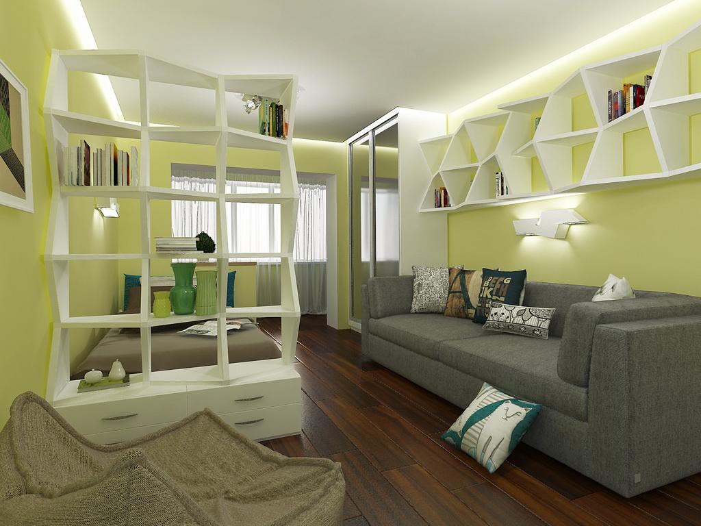 Дизайн пятиугольной комнаты с балконом
