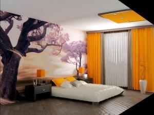 Интерьер комнаты с фотообоями