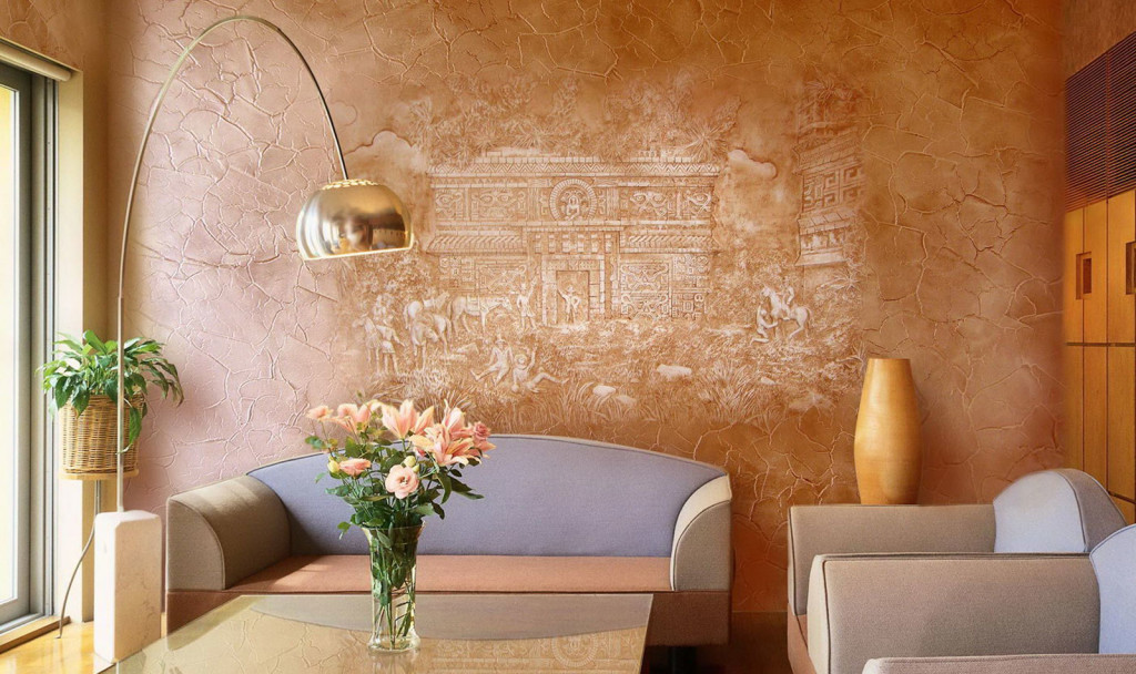 Как осуществляется отделка стен с помощью фактурной краски