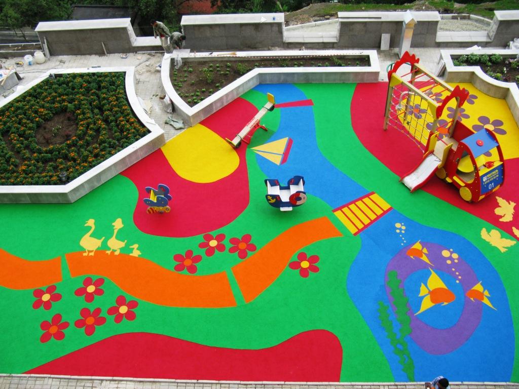 Резиновое покрытие для спортивных, детских площадок и теннисных кортов